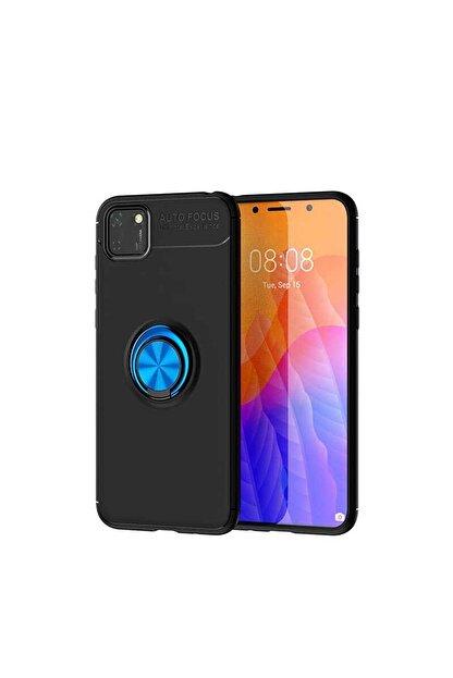 Cmk Huawei Y5p Kılıf Yüzüklü Standlı Mıknatıslı Silikon Mavi + Nano Cam