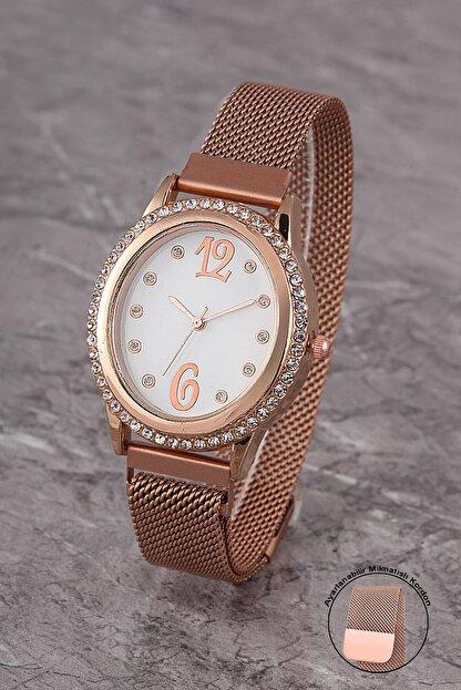 Polo55 Plkhm009r06 Kadın Saat Taşlı Şık Kadran Mıknatıslı Hasır Kordon