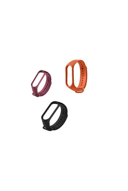 Tiegem Xiaomi Mi Band 3-4 Silikon Kordon 3 Lü Set - Bordo Turuncu Siyah