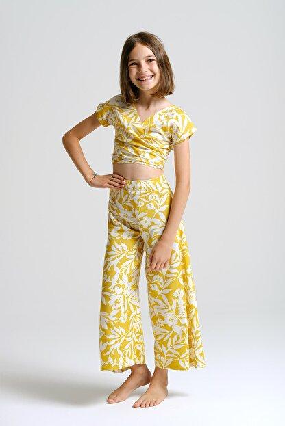 Linda&Mila Kız Çocuk Sarı Çiçek Desenli Bol Pantolon