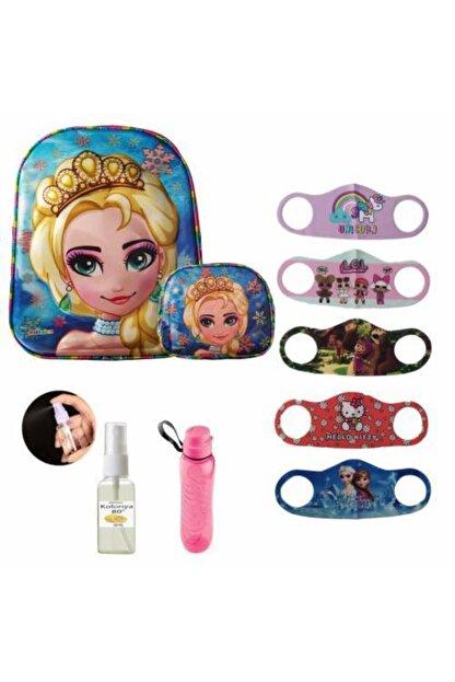 Mashotrend 7d Frozen Elsa Baskılı 3 Gözlü Okul Çantası + Beslenme Çantası + Suluk + 5 Maske + Kolonya Hediyeli