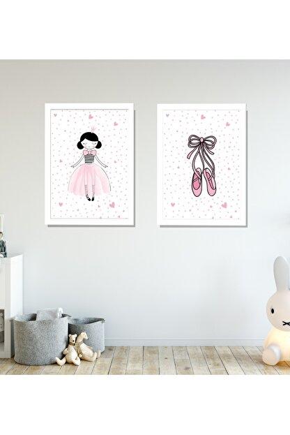 SUNNYFUNNYKIDS Prenses Balerin Ayakkabı 2 Çerçeveli Bebek Odası Tablo Set 21x30 cm Sfk93