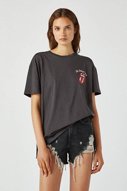 Pull & Bear Kadın Antrasit Gri Gri The Rolling Stones T-Shirt 09247306