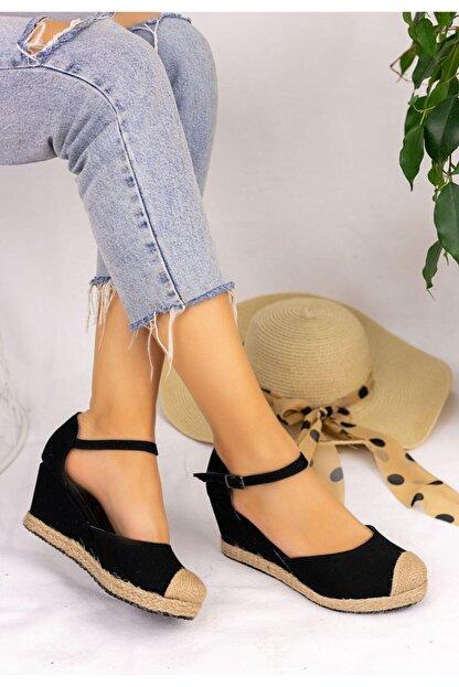 Güven RT Kadın Siyah Keten Dolgu Topuk Sandalet