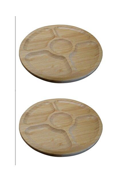 Paçi 2'li Bambu Yuvarlak 5 Bölmeli 20 Cm Sunum Servis Tabağı Kahvaltılık Çerezlik