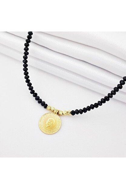altınplaza Çeyrek Altınlı Siyah Taşlı Kolye Kl05807