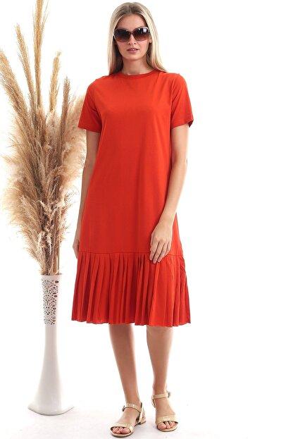 Cotton Mood Kadın Turuncu Süprem Eteği Pliseli Kısa Kol Elbise 9303044