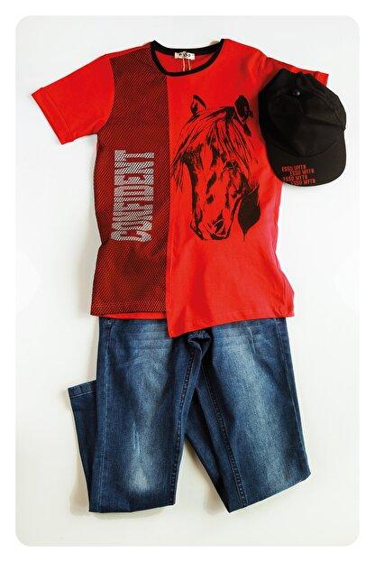 AE Group Erkek Çocuk Kırmızı Confident Baskılı Kot Pantolonlu T-shirt Takım 4 Parça