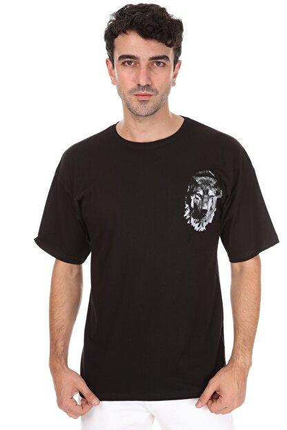Millionaire Erkek Siyah Kurt Baskılı Oversize T-shirt