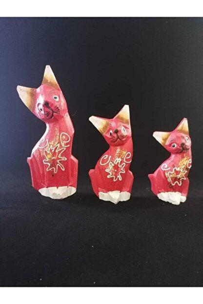 Otantik Hediyelik Kırmızı Ahşap Kedi Dekoratif Biblo 3 Lü