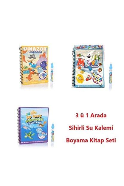 DEEMBRO Sihirli Boyama Kitabı Özel Kalemi Water Magic Boyama ( 3 Kitap Bir Arada )