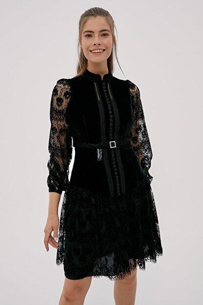 Kayra Kadın Siyah Hakim Yaka Dantelli Elbise  B20 23024