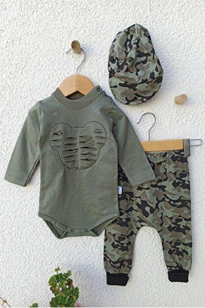 Hippıl Baby Erkek Bebek Yeşil Kamuflajlı Şapkalı Takımı 3-6 Ay