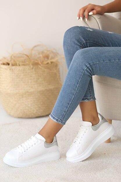 Pembe Potin Kadın Beyaz Gümüş Ayakkabı