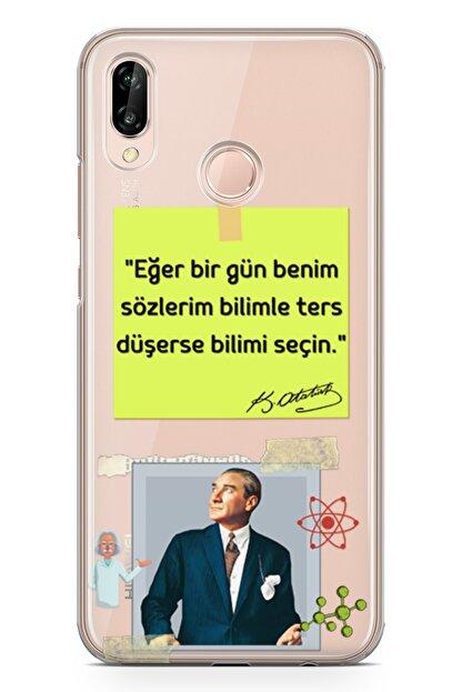 Lopard Huawei Nova 3e Kılıf Caps Atatürk Arka Kapak Koruma Desenli Full Koruyucu