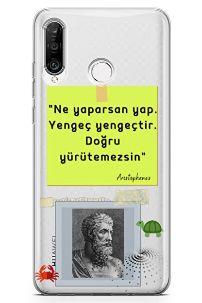 Lopard Huawei Nova 4e Kılıf Caps Aristophanes Arka Kapak Koruma Desenli Full Koruyucu