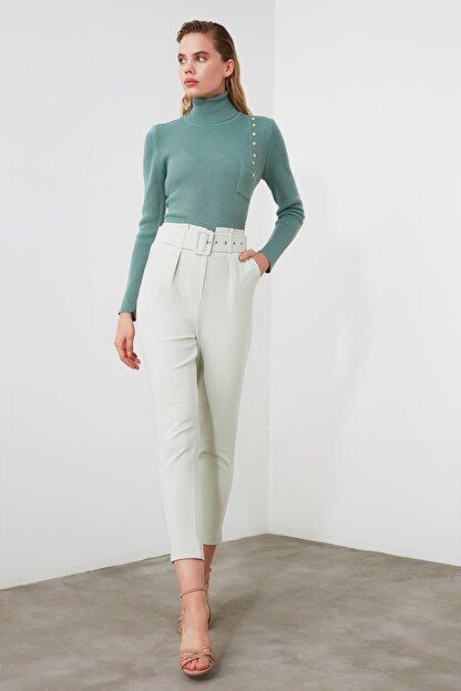 TRENDYOLMİLLA Mint Kemer Detaylı Pantolon TWOSS20PL0354
