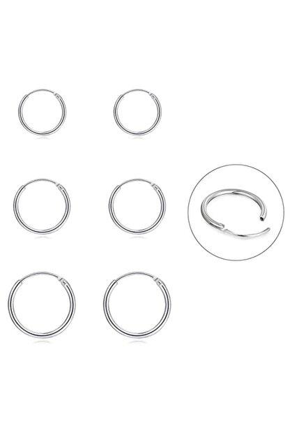 Onur Silver 925 Ayar Saf Gümüş Halka Küpe Seti 3'lü Hoop Earing Complete 12-14-16 Mm