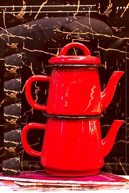 ÜNAL ZÜCCACİYE Emaye Çaydanlık Takımı Kırmızı
