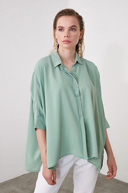 TRENDYOLMİLLA Mint Oversize Gömlek TWOSS20GO0200