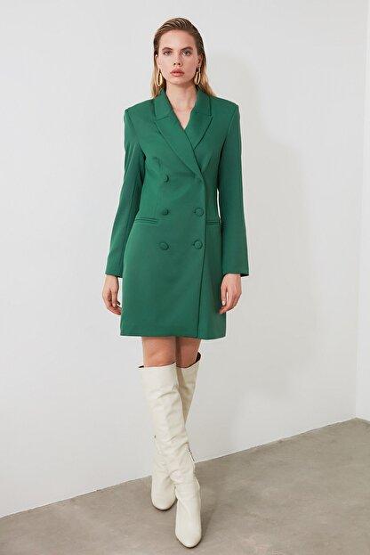 TRENDYOLMİLLA Yeşil Ceket Elbise TWOAW20EL0918