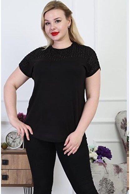 Şirin Butik Kadın Siyah Büyük Beden Sim Detaylı Bluz