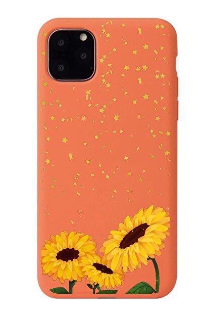 POFHİ Galaxy S10 Ayçiçeği Turuncu Premium Telefon Kılıfı