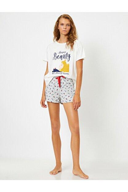 Koton Kadın Ekru Pamuklu Disney Baskılı Pijama Seti