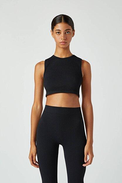 Pull & Bear Kadın Siyah Dikişsiz Kolsuz Basic Top 09247313