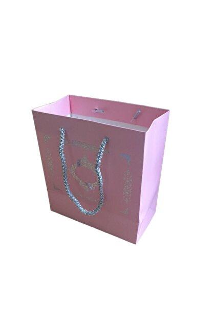 Eminonutoptanci Karton Ipsaplı Hediye Çantası Saray Desenli Gümüş 15x17x8 10 Adet Pembe