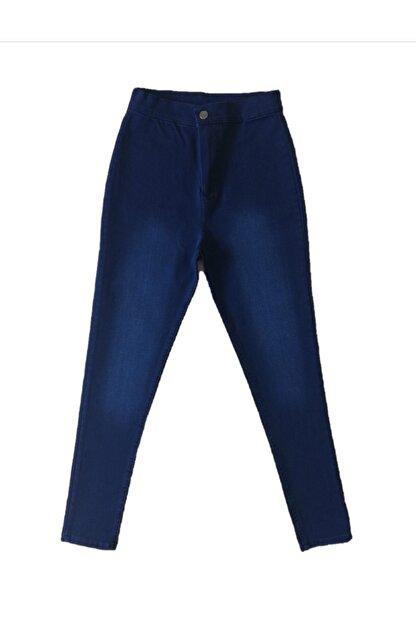 678 Collection Kadın   Koyu Mavi Ful Likra Kot Pantolon