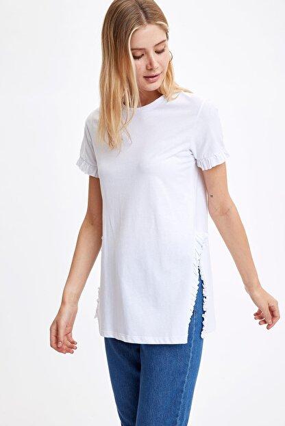 Defacto Kadın Beyaz-130-13 Kolları Ve Etek Ucu Volanlı Tunik S7705AZ20HS