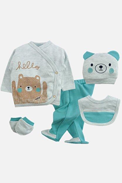 mini zeyn Hello Bear Desenli 5'li Erkek Zıbın Seti
