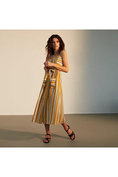 Mudo Kadın Sarı Askılı Kloş Midi Elbise 1217611
