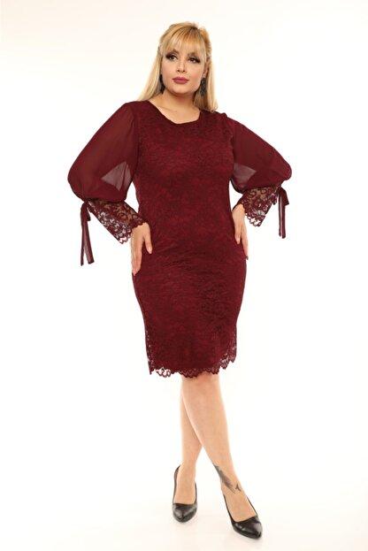 VOLİNAY Kadın Bordo Büyük Beden Güpür Kolu Şifon Abiye Elbise