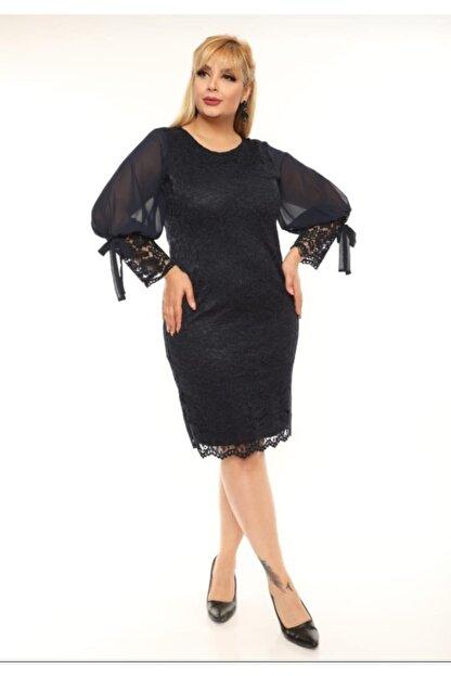 VOLİNAY Kadın Siyah Güpür Kolu Şifon Abiye Elbise