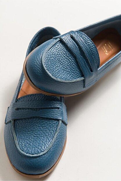 LuviShoes Kadın Kot Cilt Babet F02