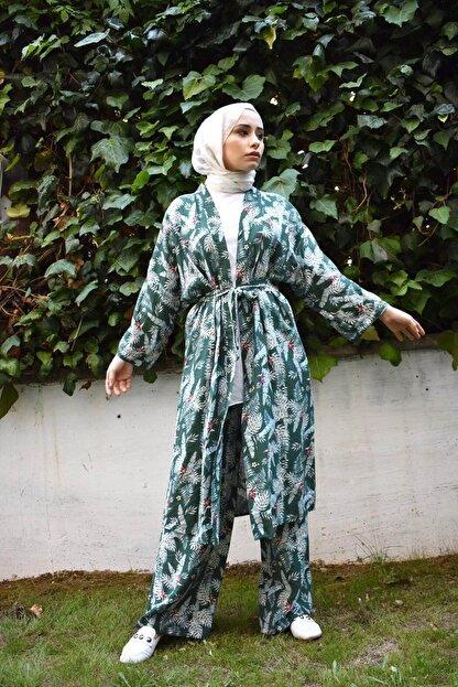 Mevazen Kadın Yeşil Desenli Kimona Ceket