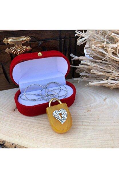 Telkari Dünyası Kadın Kehribar Taşlı Kalp Kilidi El İşi Gümüş Kolye