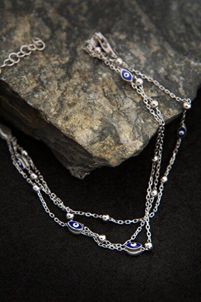 Elika Silver Kadın 3 Sıra Göz Model 925 Ayar Gümüş Bileklik