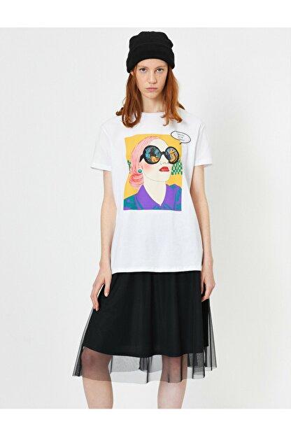 Koton Kadın Beyaz Baskili T-shirt
