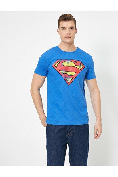 Koton Erkek Mavi Superman Lisansli Baskili T-Shirt 0YAM11216CK