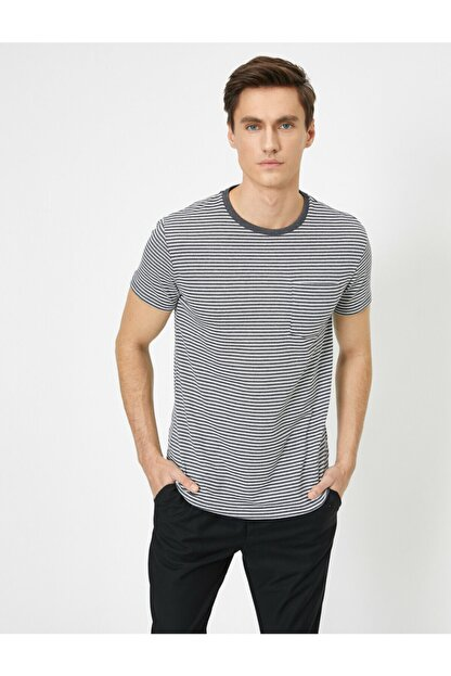 Koton Erkek Gri Cep Detaylı T-Shirt