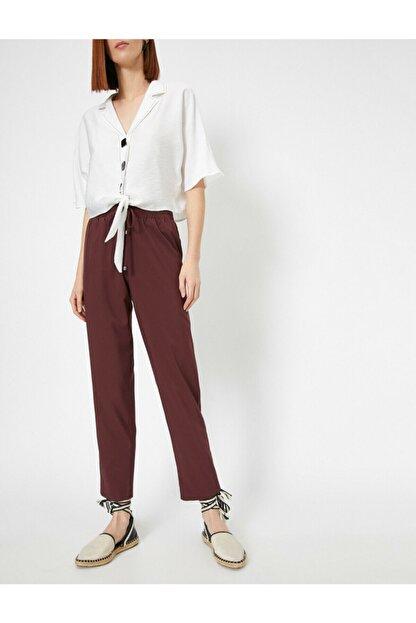 Koton Kadın Bordo Belı Bağlamalı Pantolon 0YAK42811UW