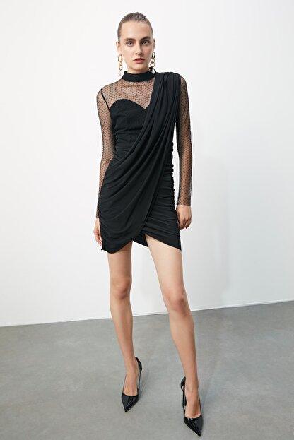 TRENDYOLMİLLA Siyah Puantiye Tül Detaylı Elbise TPRSS20EL0806