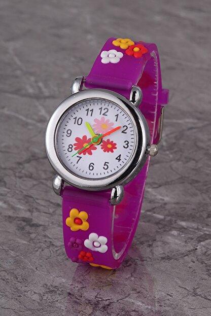 Polo55 Plcs002r03 Çocuk Saat Mor Çiçek Karekterli Çocuk Saati