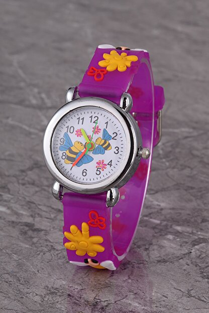 Polo55 Plcs007r03 Çocuk Saat Mor Arılı Çiçekli Çocuk Saati