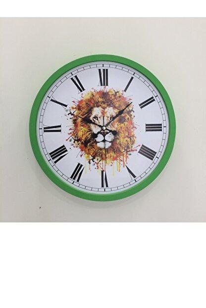 Platin Saat 36 Cm Ahşap Yeşil Aslan Temalı Duvar Saati