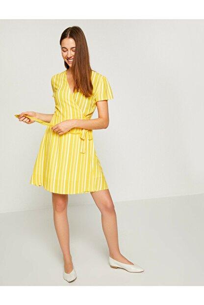 Koton Kadın Sarı Beli Bağlamalı Elbise 8YAK82461UW