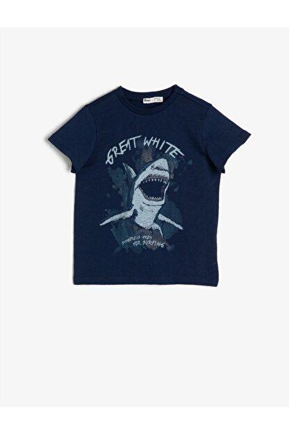Koton Erkek Çocuk Lacivert Yazili Baskili T-shirt